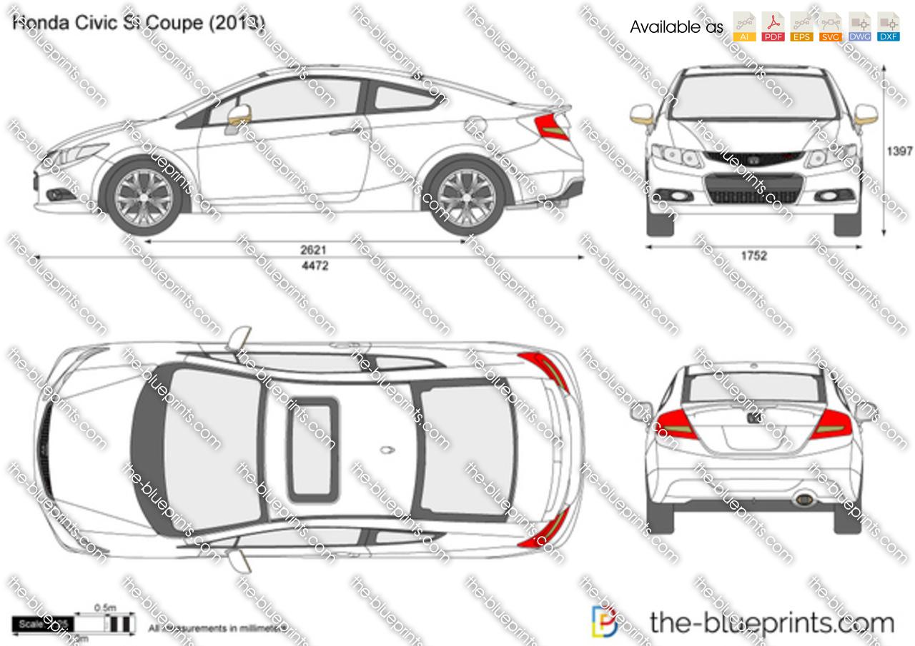 Honda Civic Si Coupe Vector Drawing