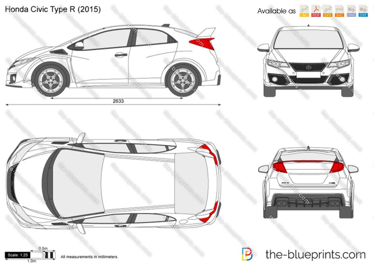 Honda Civic Type R Fk2 Vector Drawing