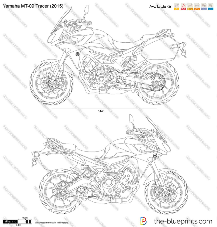 Yamaha Mt 09 Tracer Vector Drawing