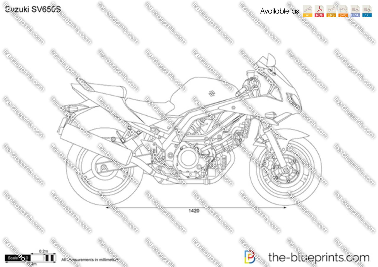 Suzuki Sv650s Vector Drawing