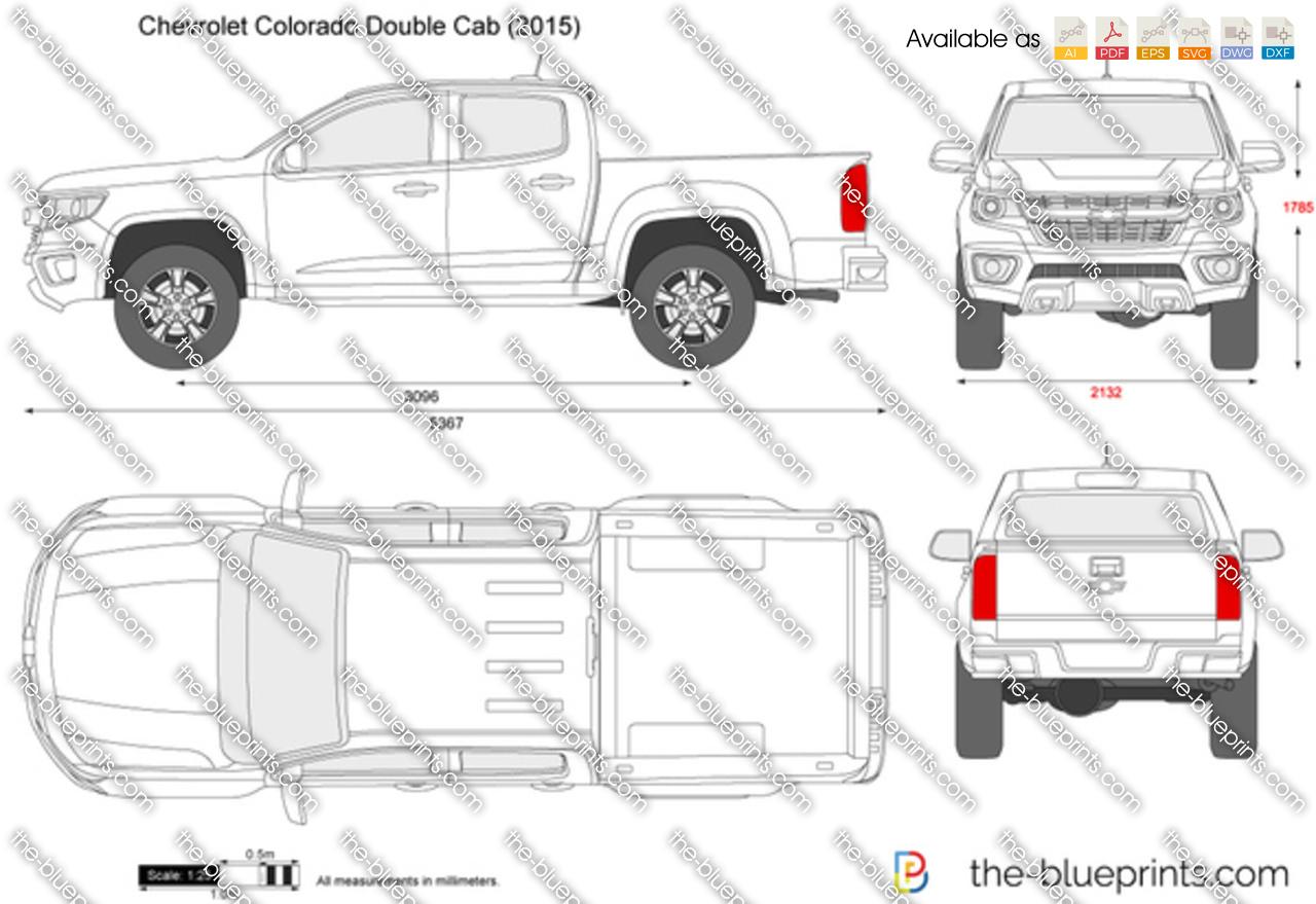 Chevrolet Colorado Double Cab Vector Drawing