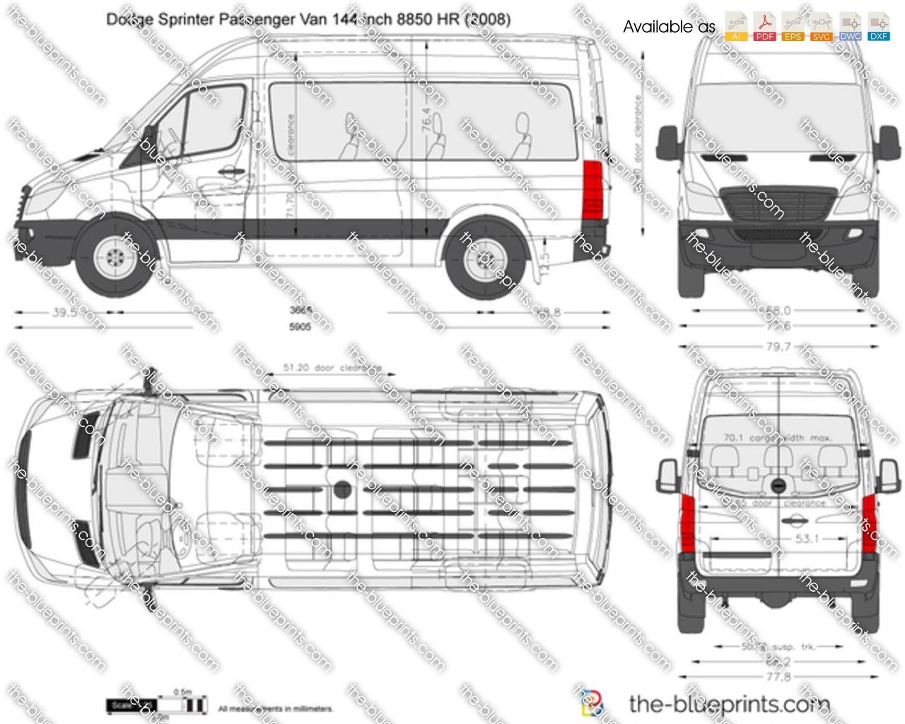 Dodge Sprinter Passenger Van 144 Inch Hr Vector Drawing