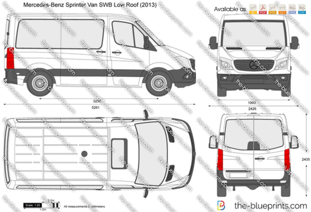 Mercedes Benz Sprinter Van Swb Low Roof Vector Drawing