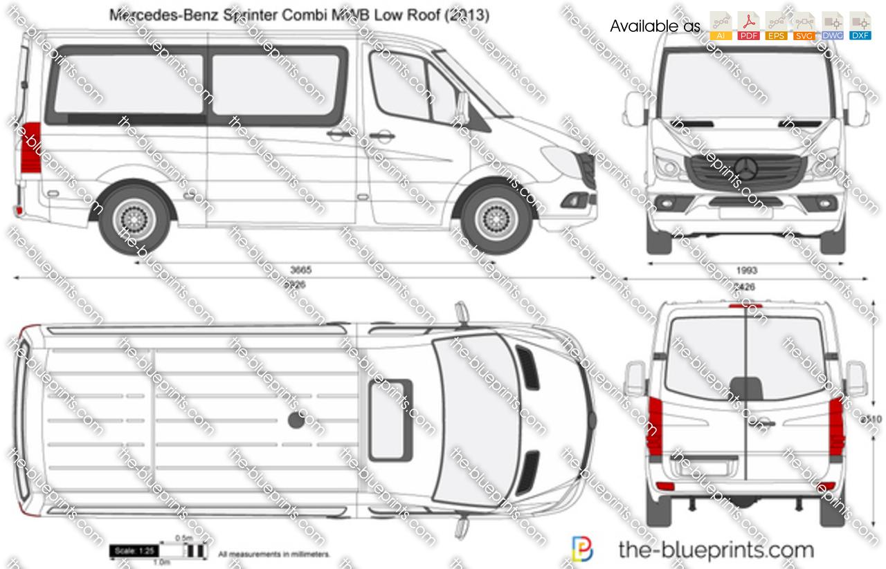 Mercedes Benz Sprinter Combi Mwb Low Roof Vector Drawing