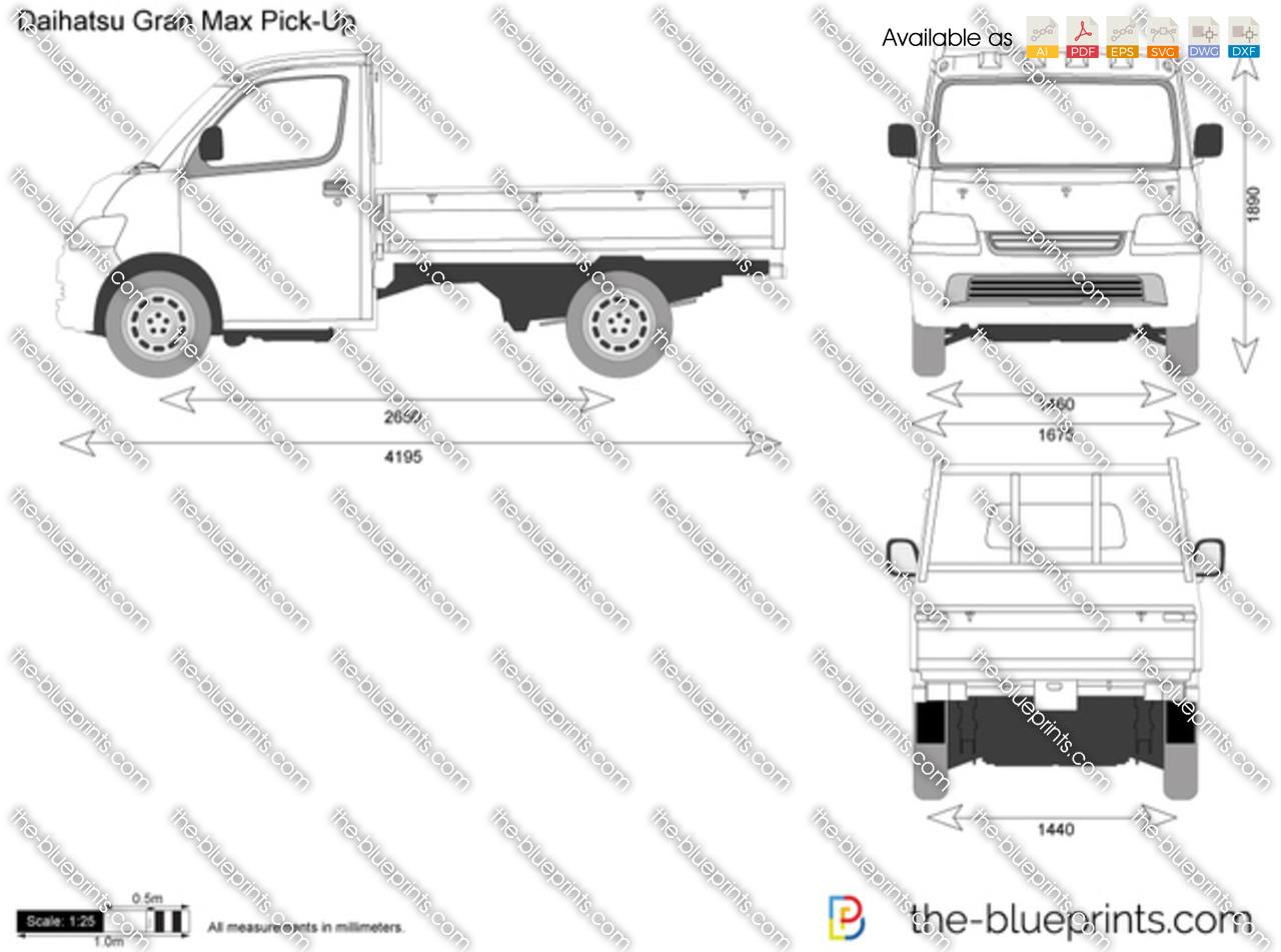 Daihatsu Gran Max Pick Up Vector Drawing