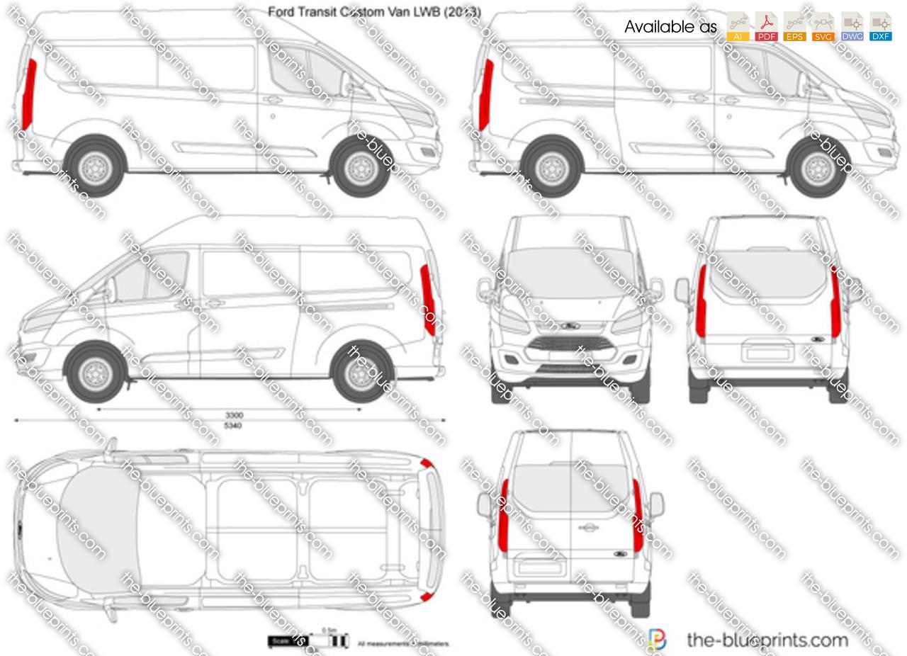Ford Transit Custom Lwb L2h2 Vector Drawing
