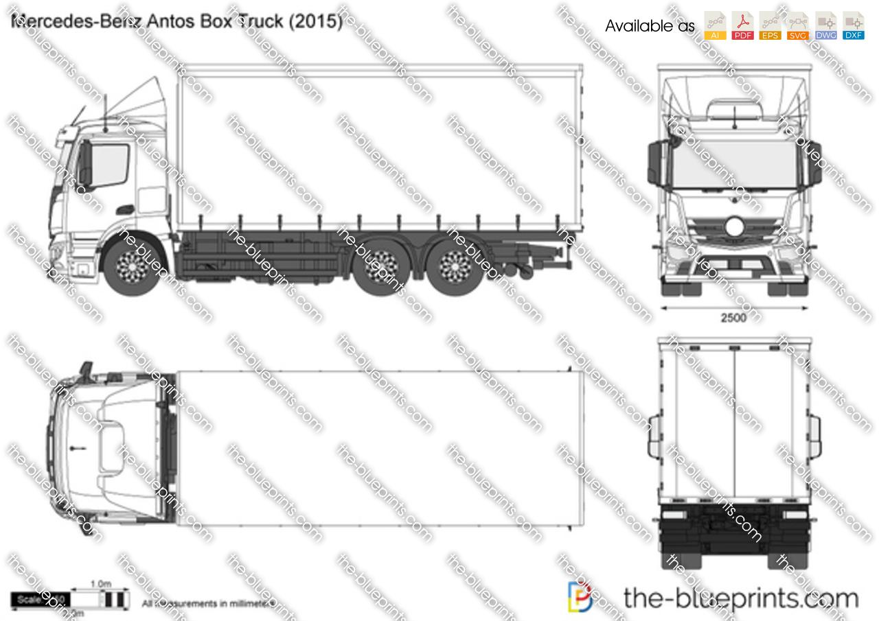 Mercedes Benz Antos Box Truck Vector Drawing