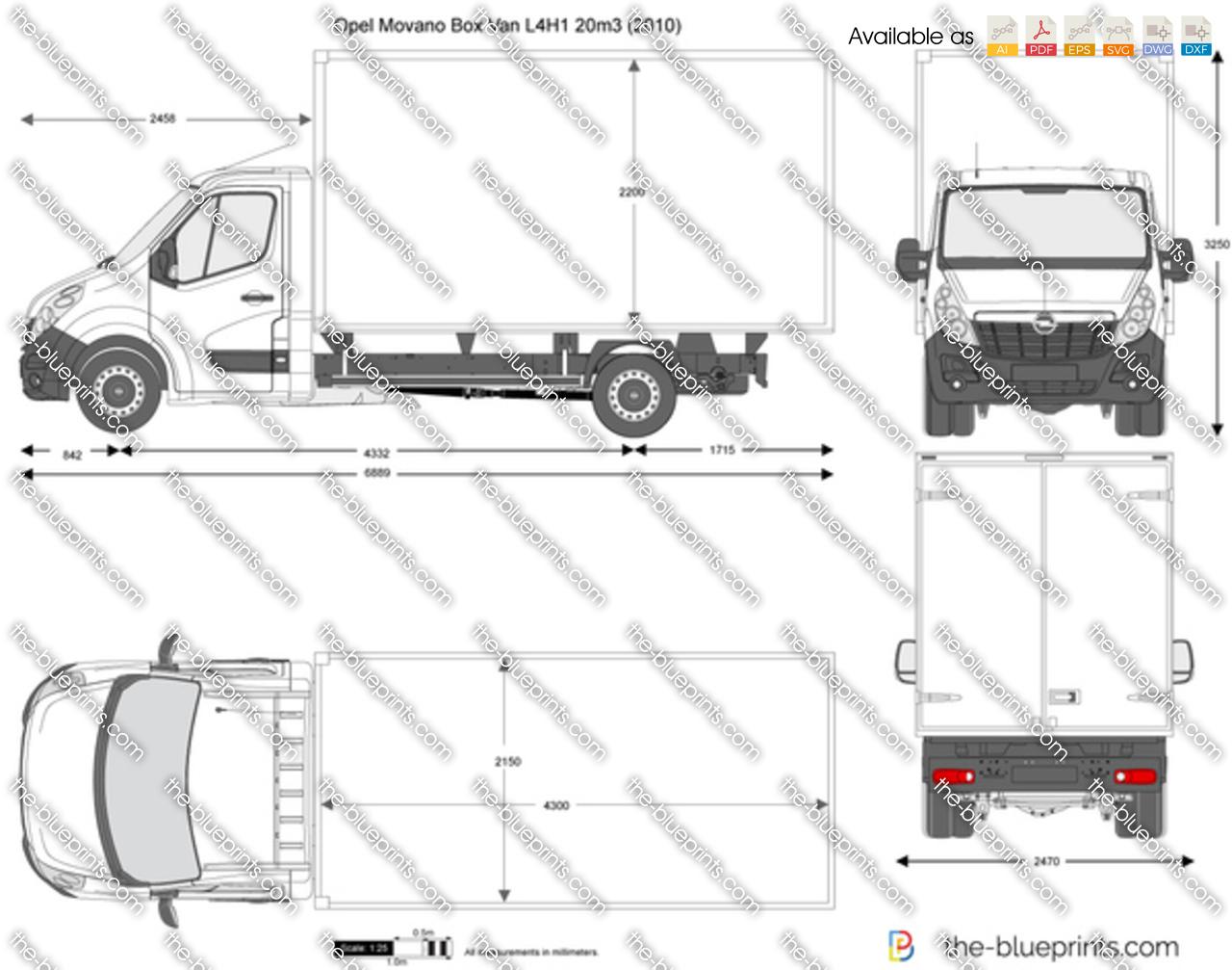 Opel Movano Box Van L4h1 20m3 Vector Drawing