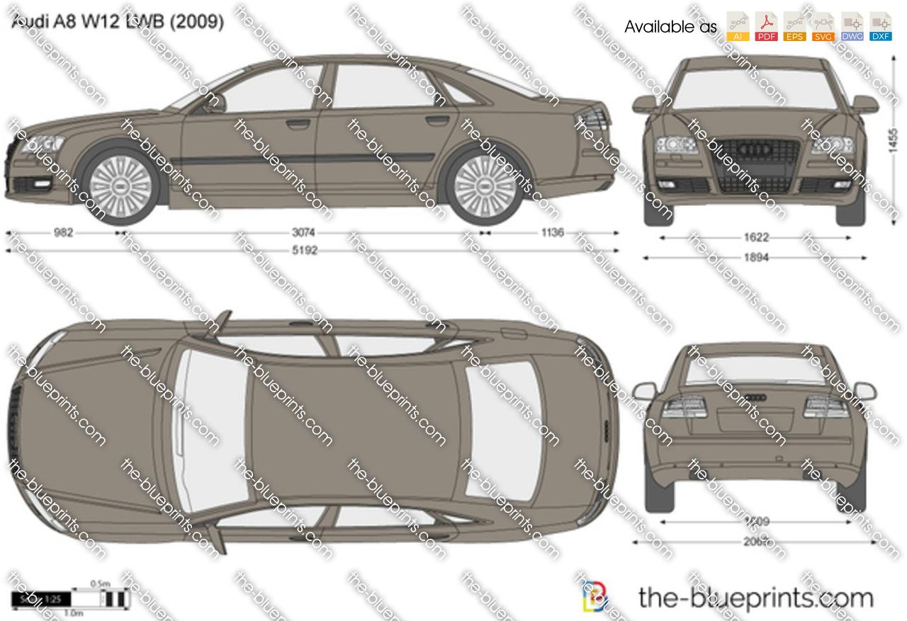 Audi A8 W12 Lwb Vector Drawing