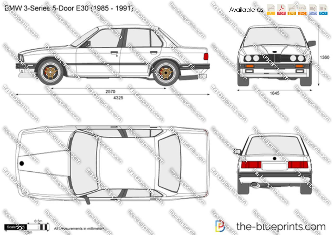 Bmw 3 Series 5 Door E30 Vector Drawing
