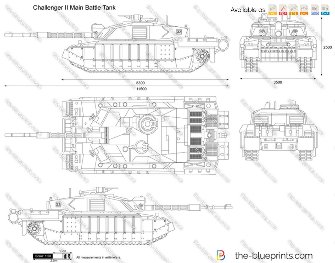 Challenger Ii Main Battle Tank Vector Drawing