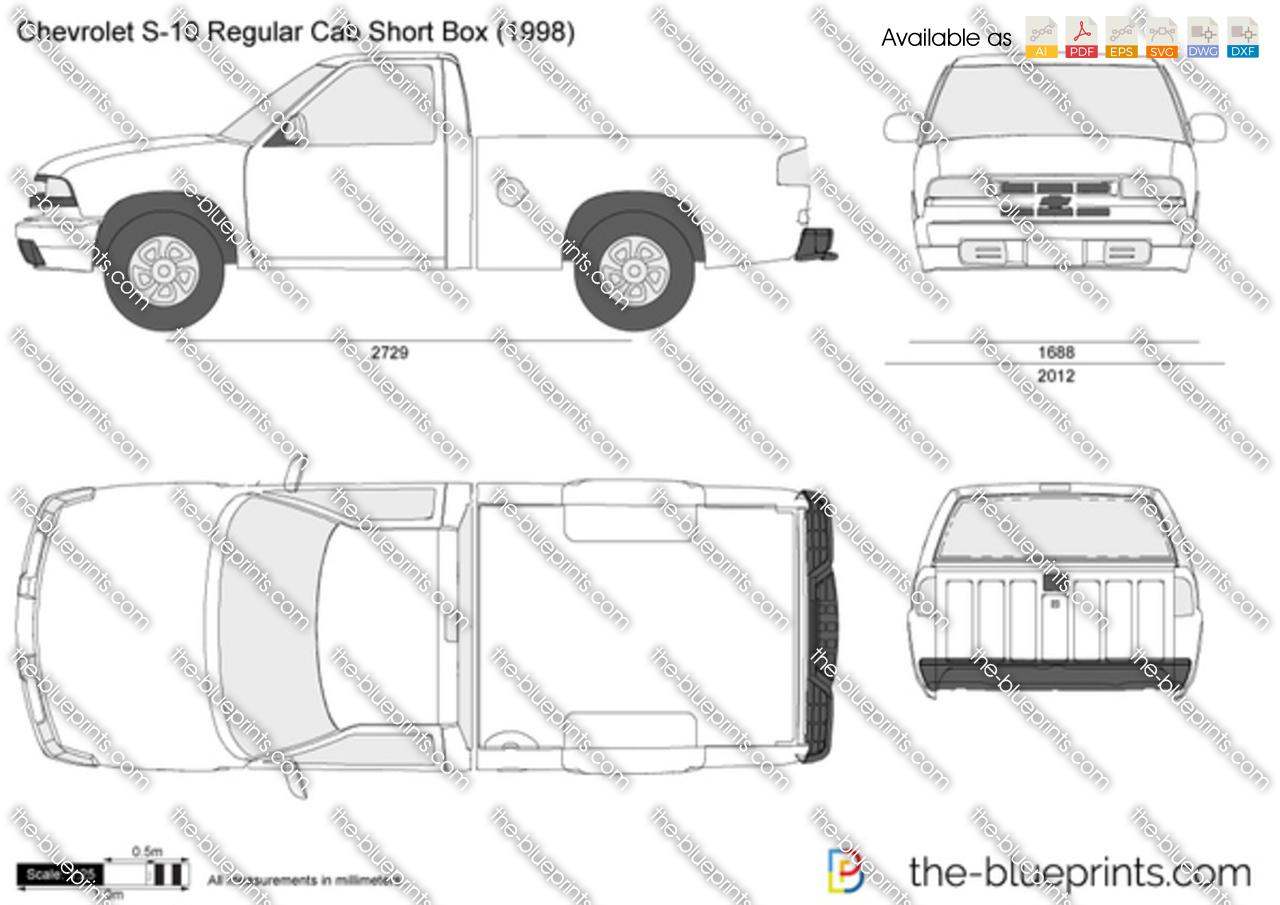 Chevrolet S 10 Regular Cab Short Box Vector Drawing