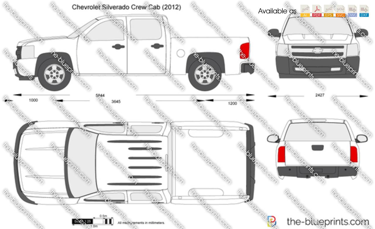 Chevrolet Silverado Crew Cab Vector Drawing