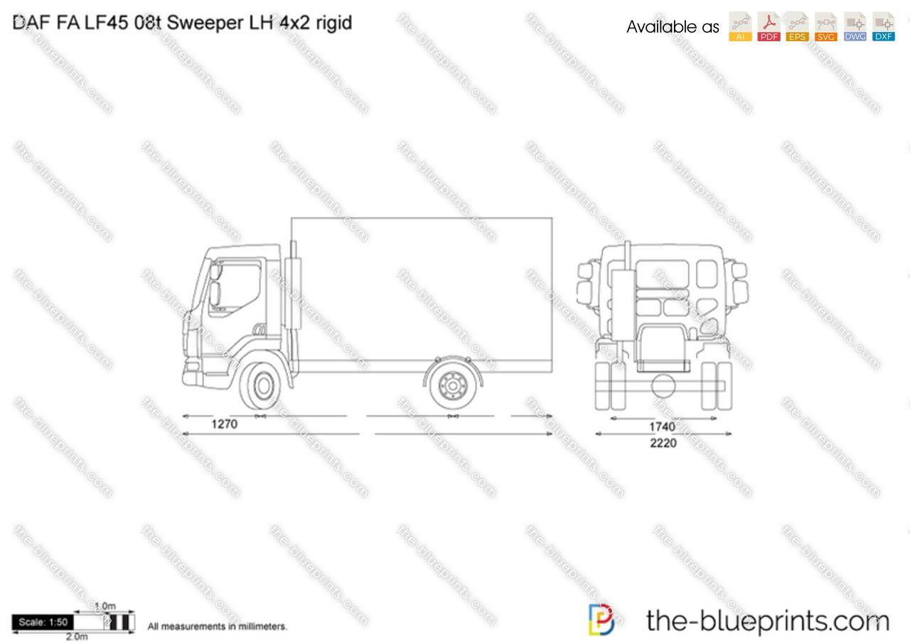 Daf Fa Lf45 08t Sweeper Lh 4x2 Rigid Vector Drawing
