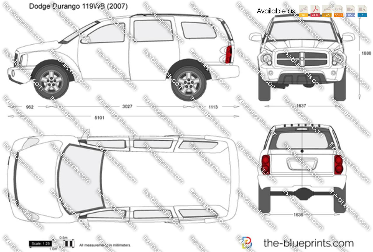 Dodge Durango 119wb Vector Drawing