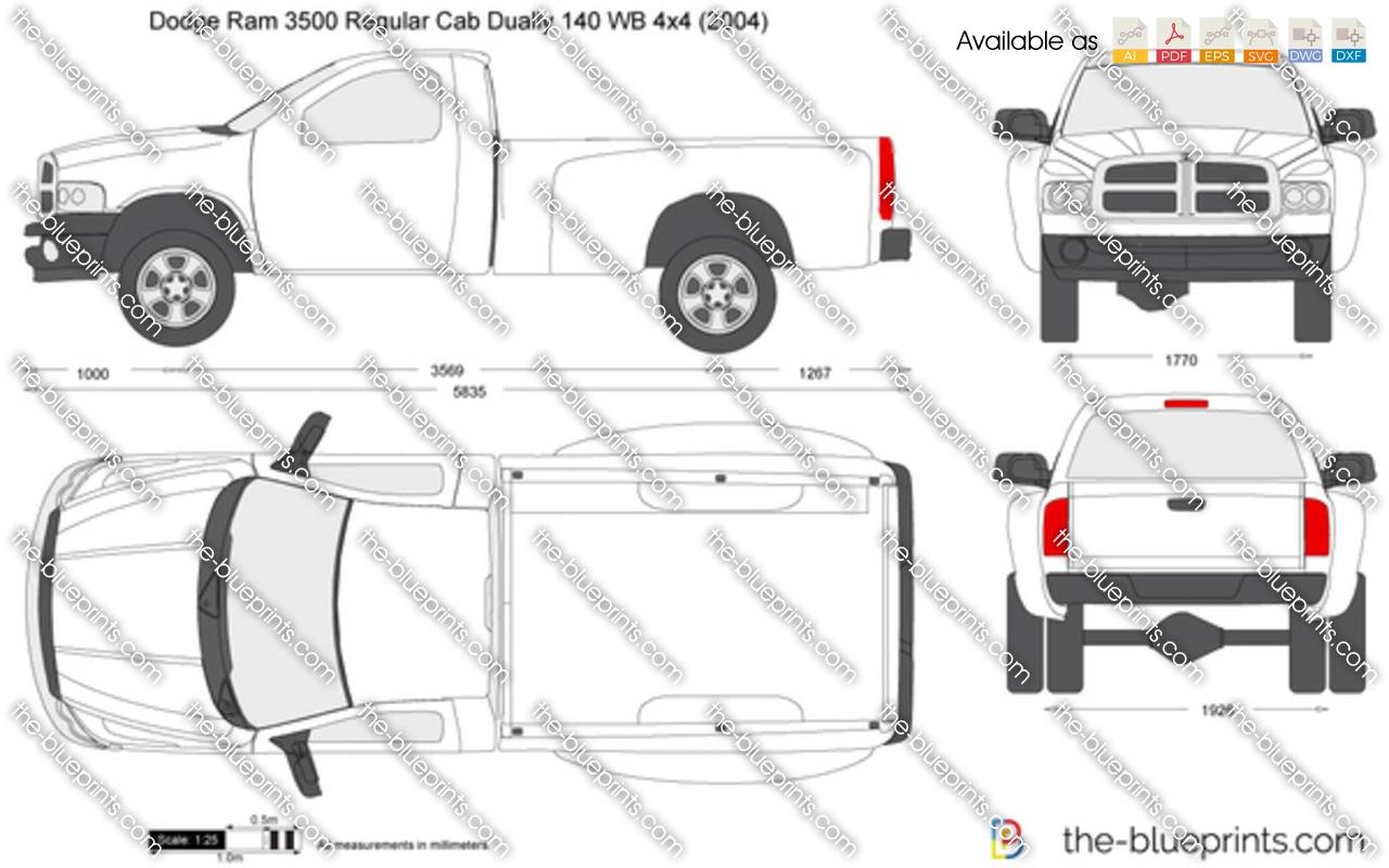 Dodge Ram Regular Cab Dually 140 Wb 4x4 Vector Drawing