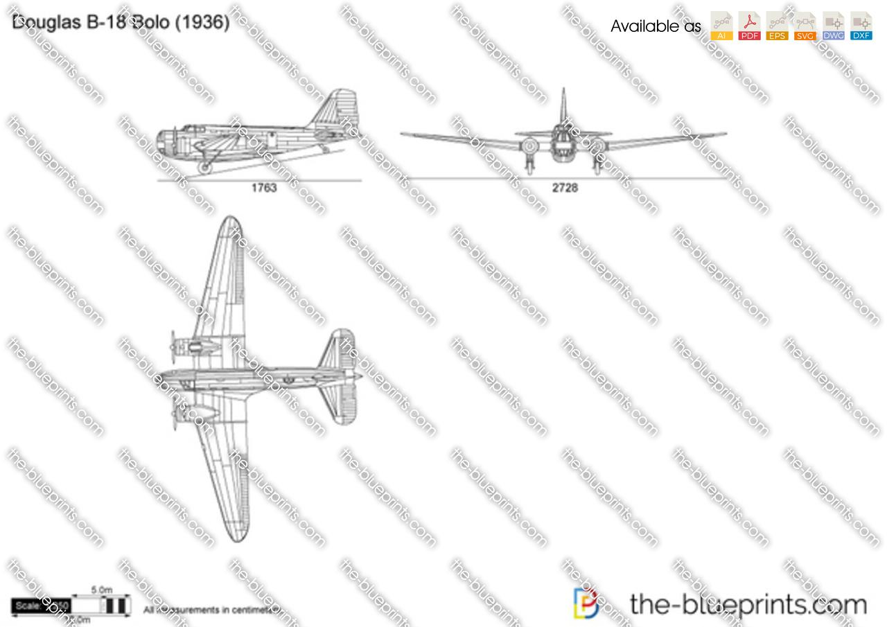 Douglas B 18 Bolo Vector Drawing