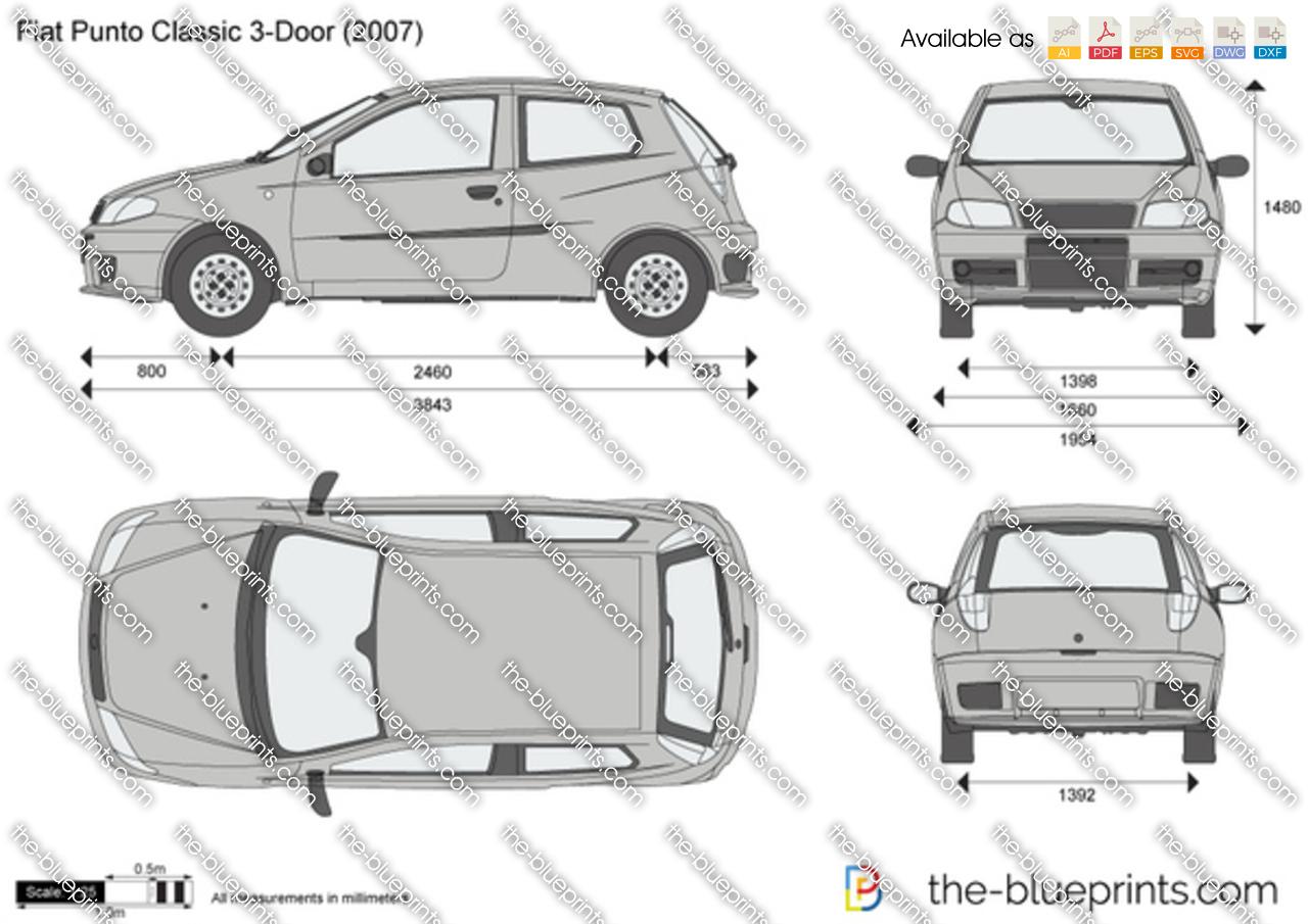 Fiat Punto Classic 3 Door Vector Drawing