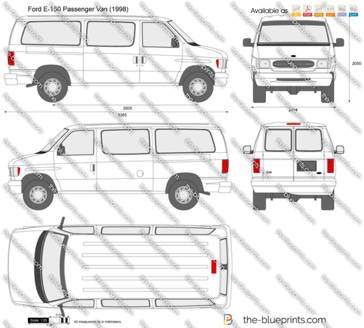 Ford E 150 Passenger Van Vector Drawing