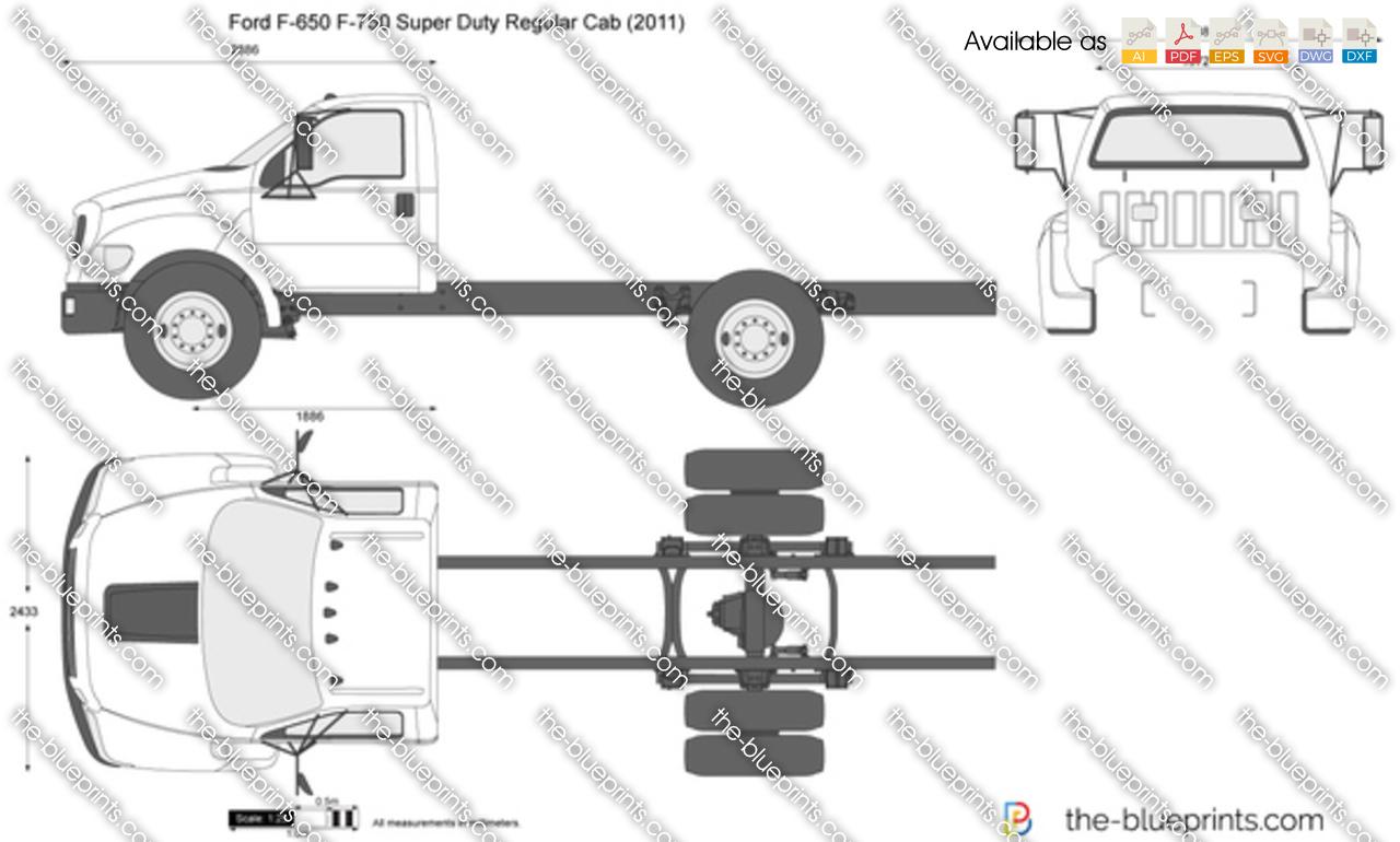 Ford F 650 F 750 Super Duty Regular Cab Vector Drawing