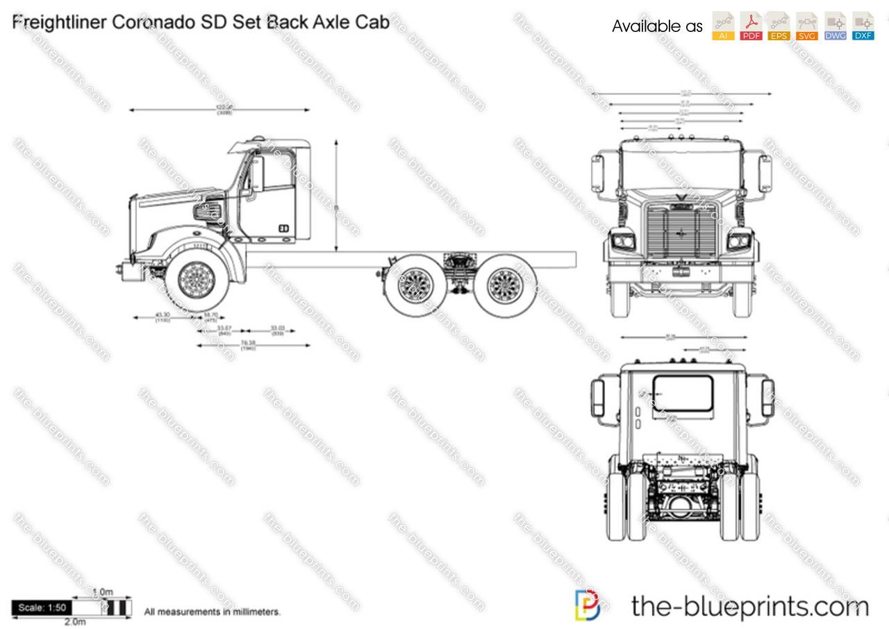 Freightliner Coronado Sd Set Back Axle Cab Vector Drawing