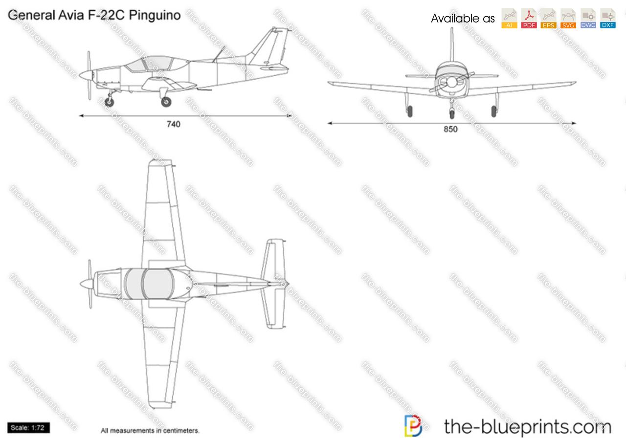 General Avia F 22c Pinguino Vector Drawing