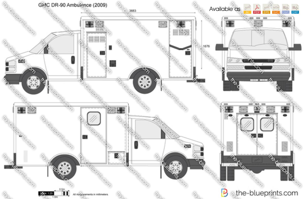 Gmc Dr 90 Ambulance Vector Drawing
