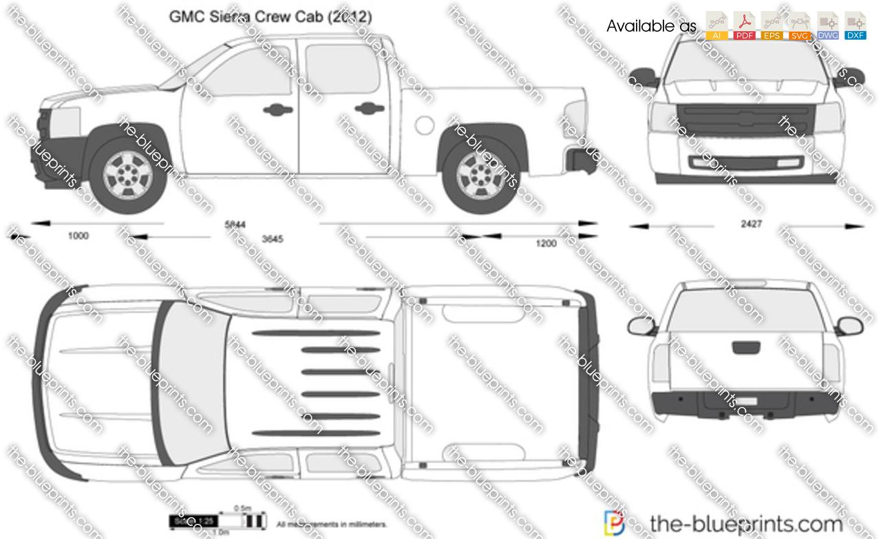 Gmc Sierra Crew Cab Vector Drawing