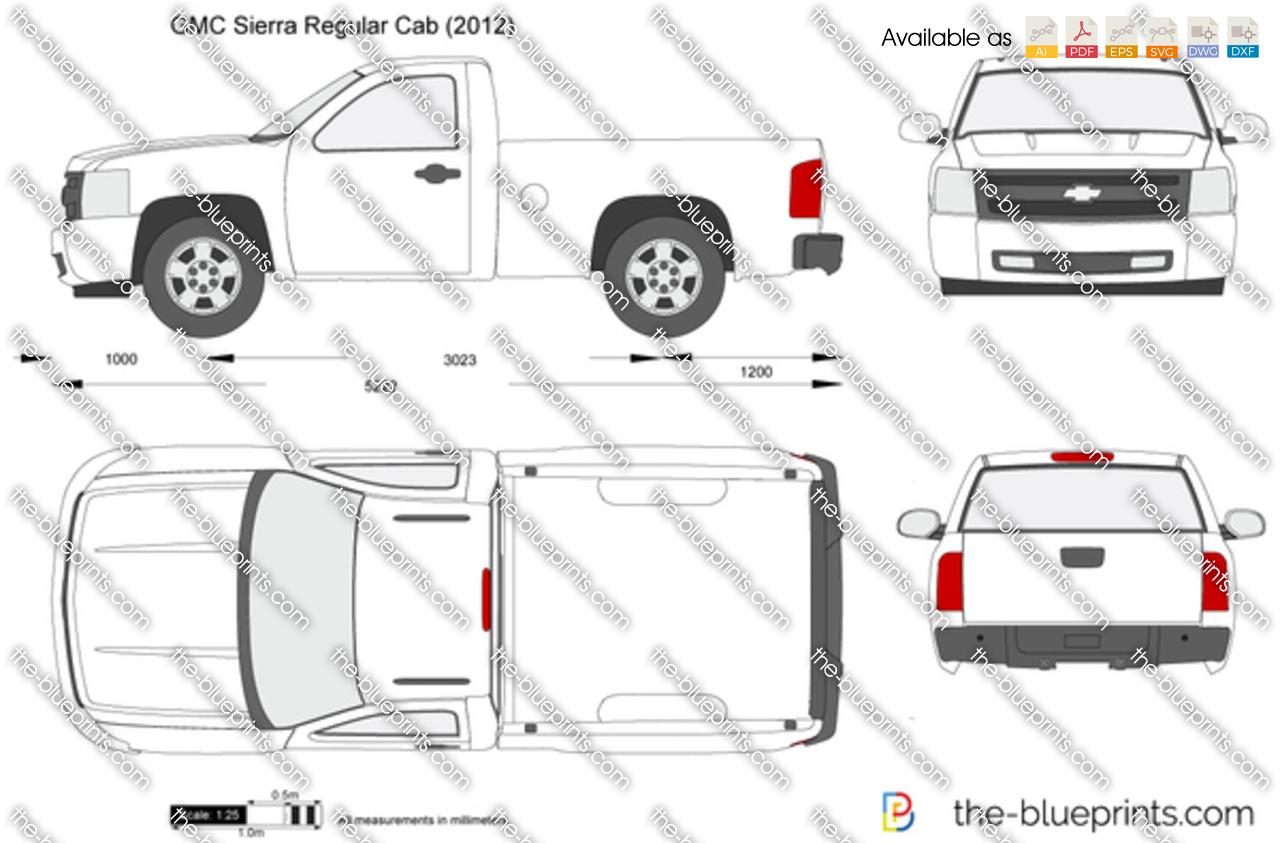 Gmc Sierra Regular Cab Vector Drawing