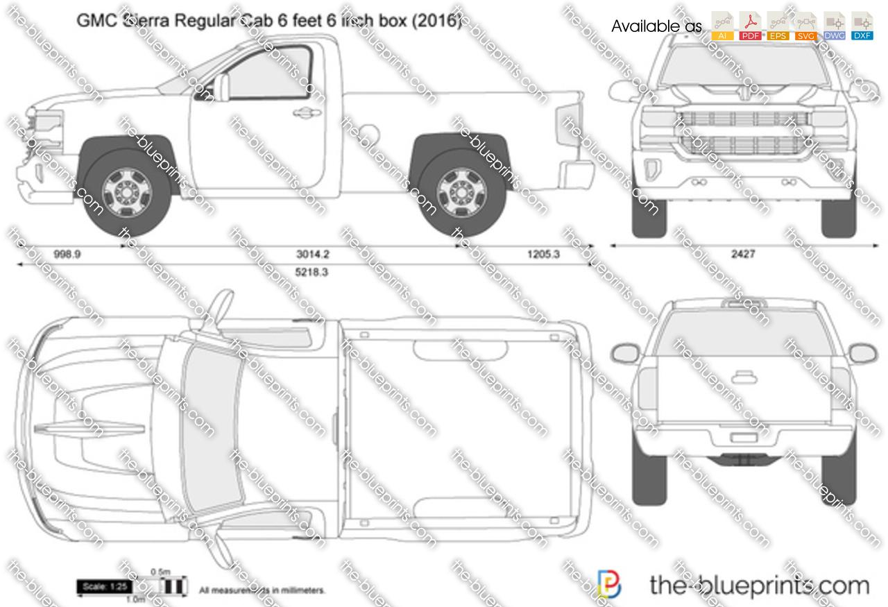 Gmc Sierra Regular Cab 6 Feet 6 Inch Box Vector Drawing