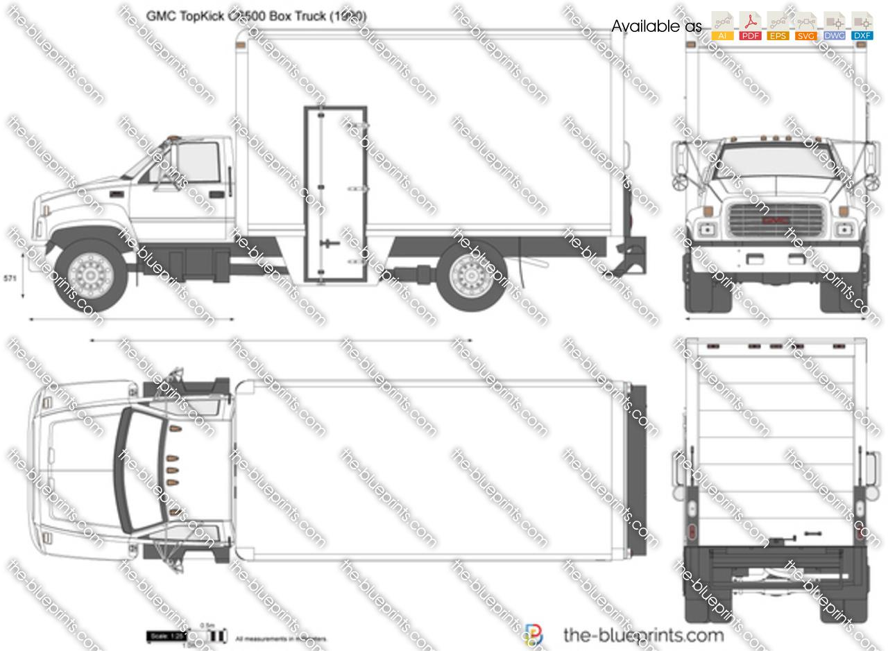 Gmc Topkick C Box Truck Vector Drawing