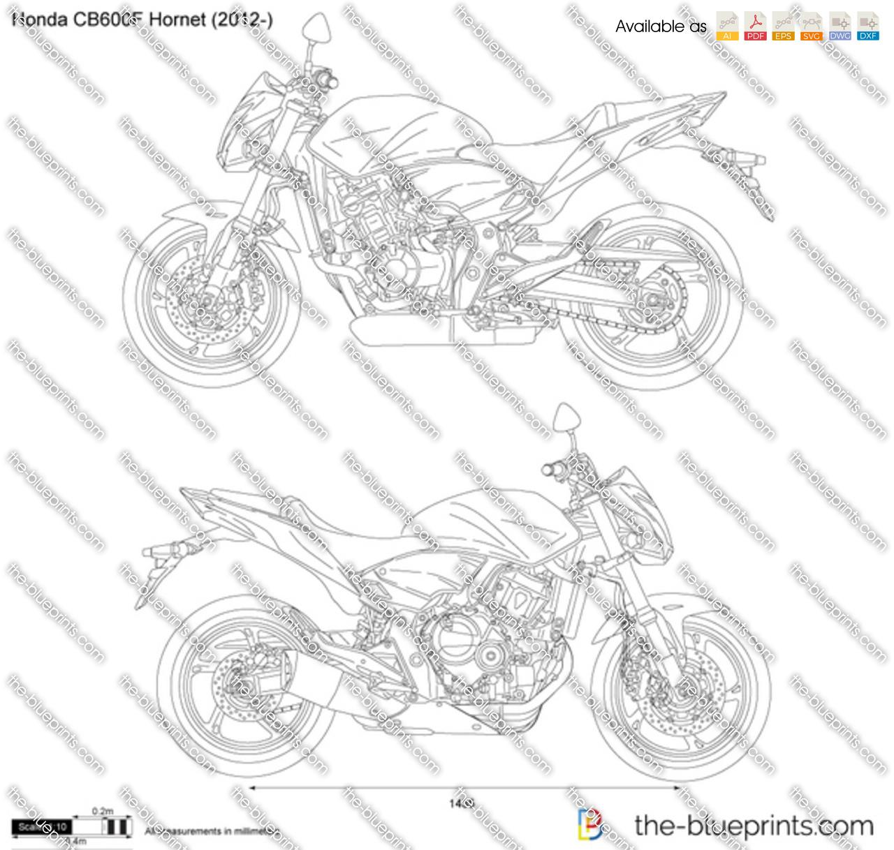 Honda Cb600f Hornet Vector Drawing