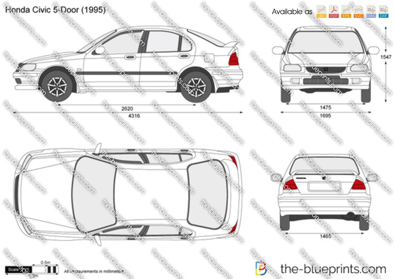 Honda Civic 5 Door Vector Drawing