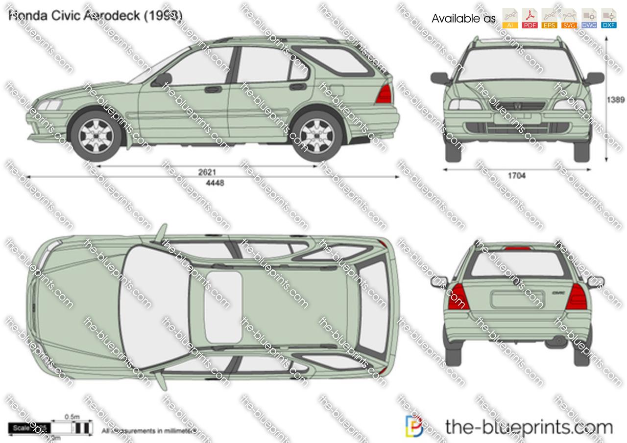 Honda Civic Aerodeck Vector Drawing