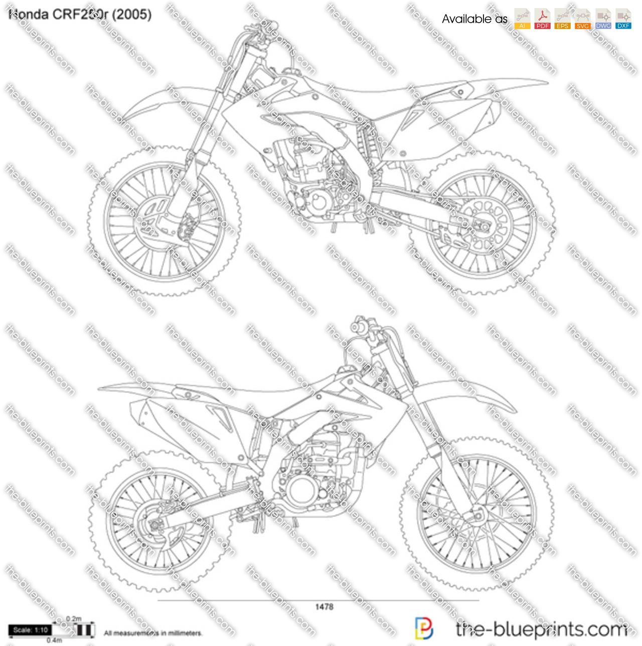 Honda Crf250r Vector Drawing