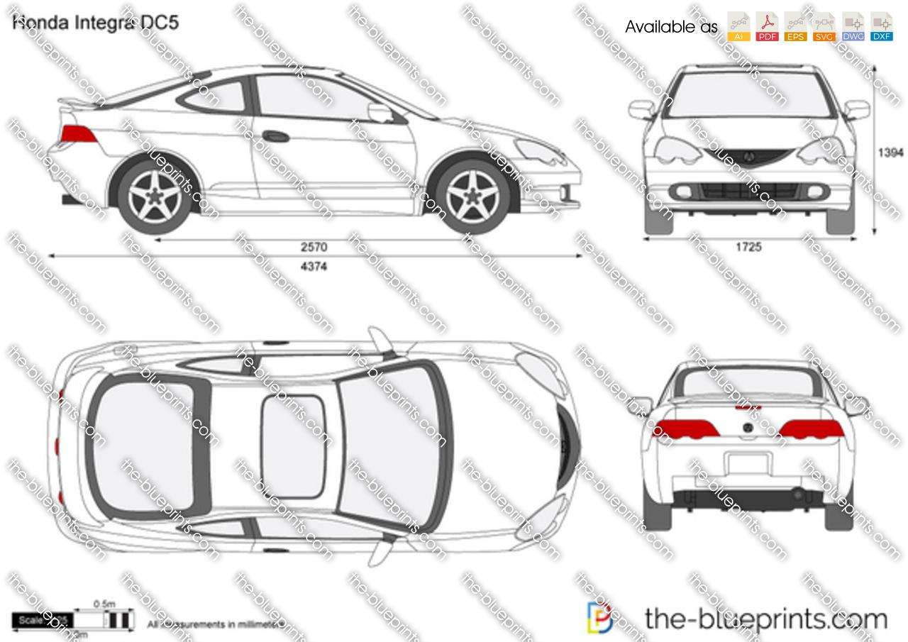 Honda Integra Dc5 Vector Drawing