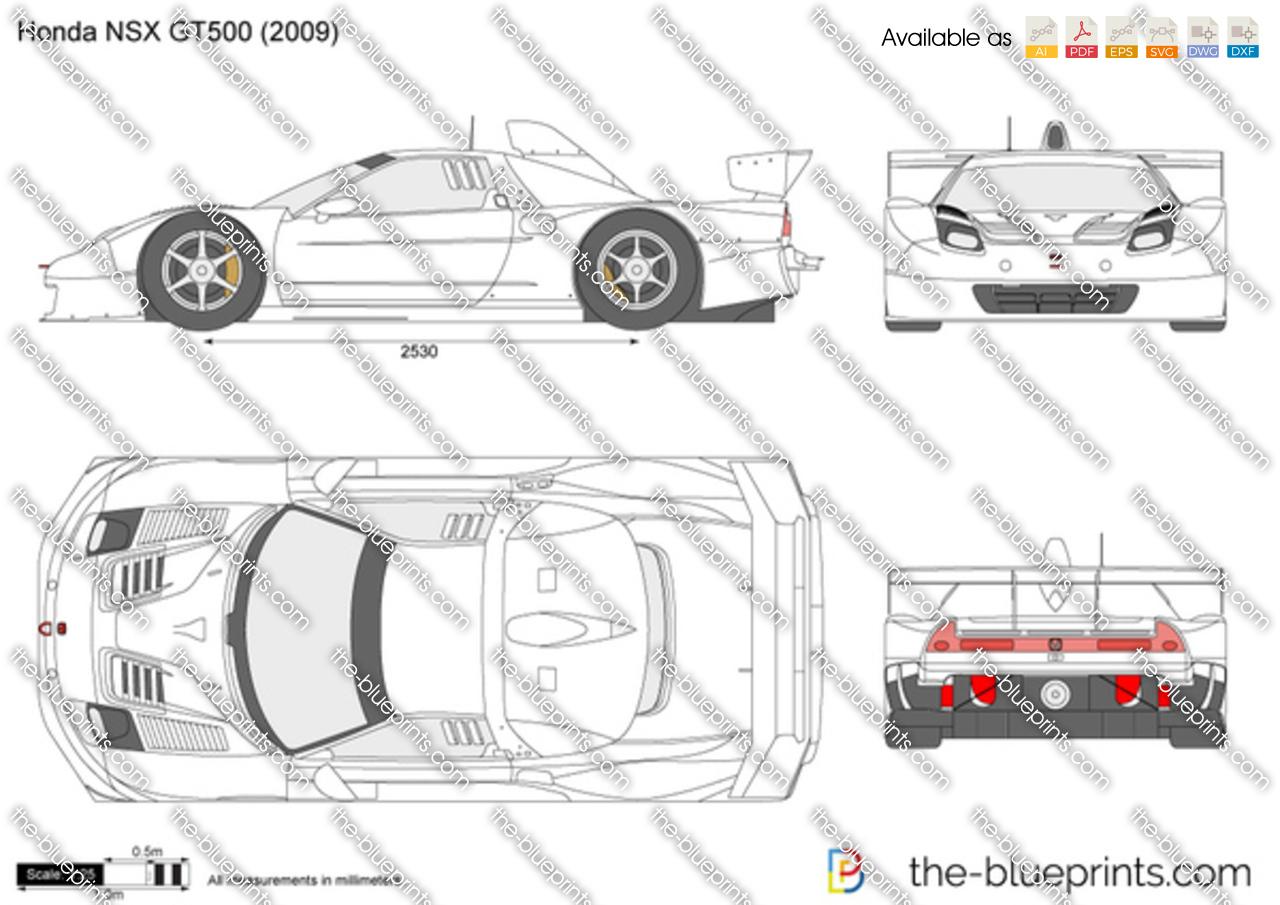 Honda Nsx Gt500 Vector Drawing