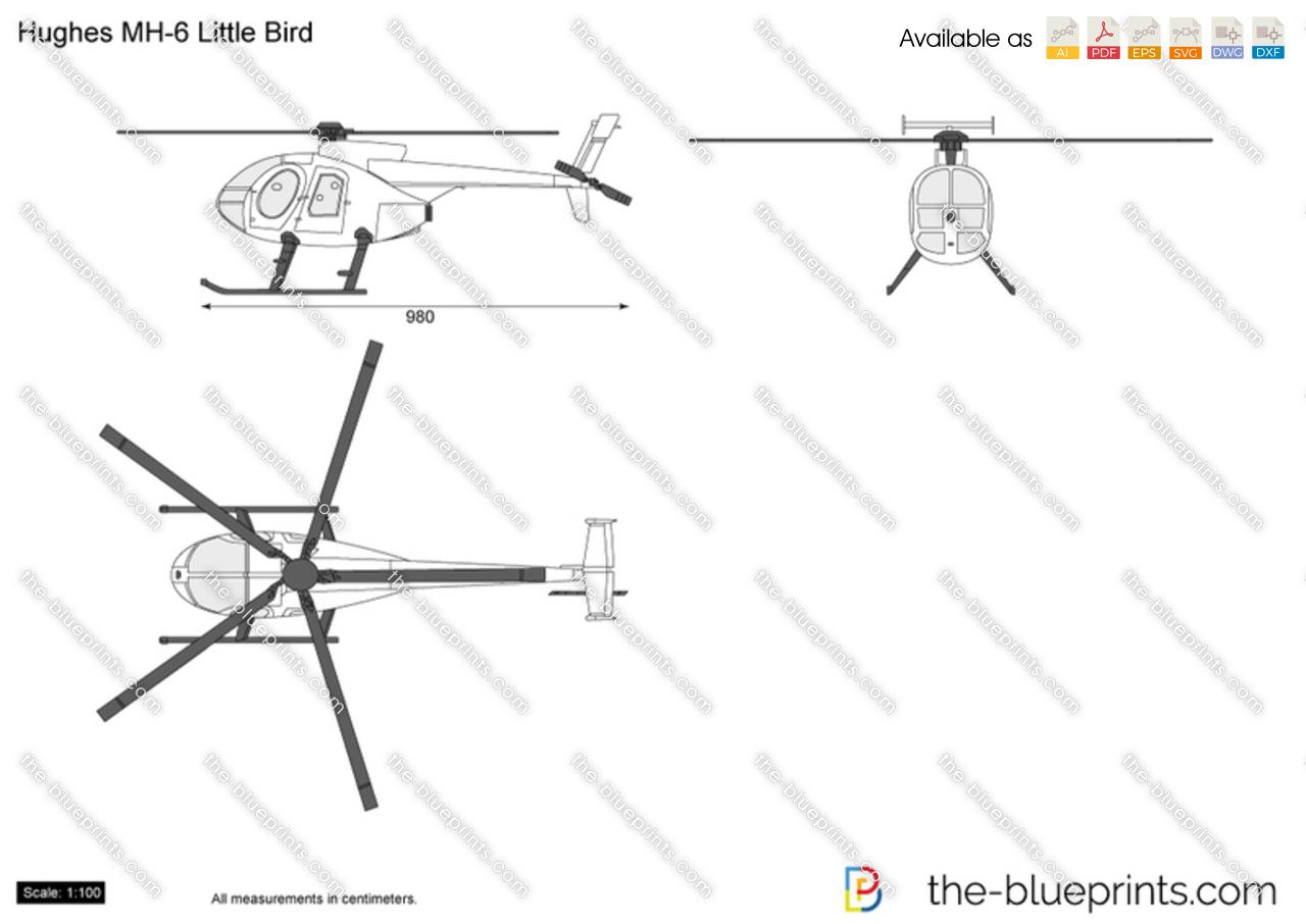 Hughes Mh 6 Little Bird Vector Drawing