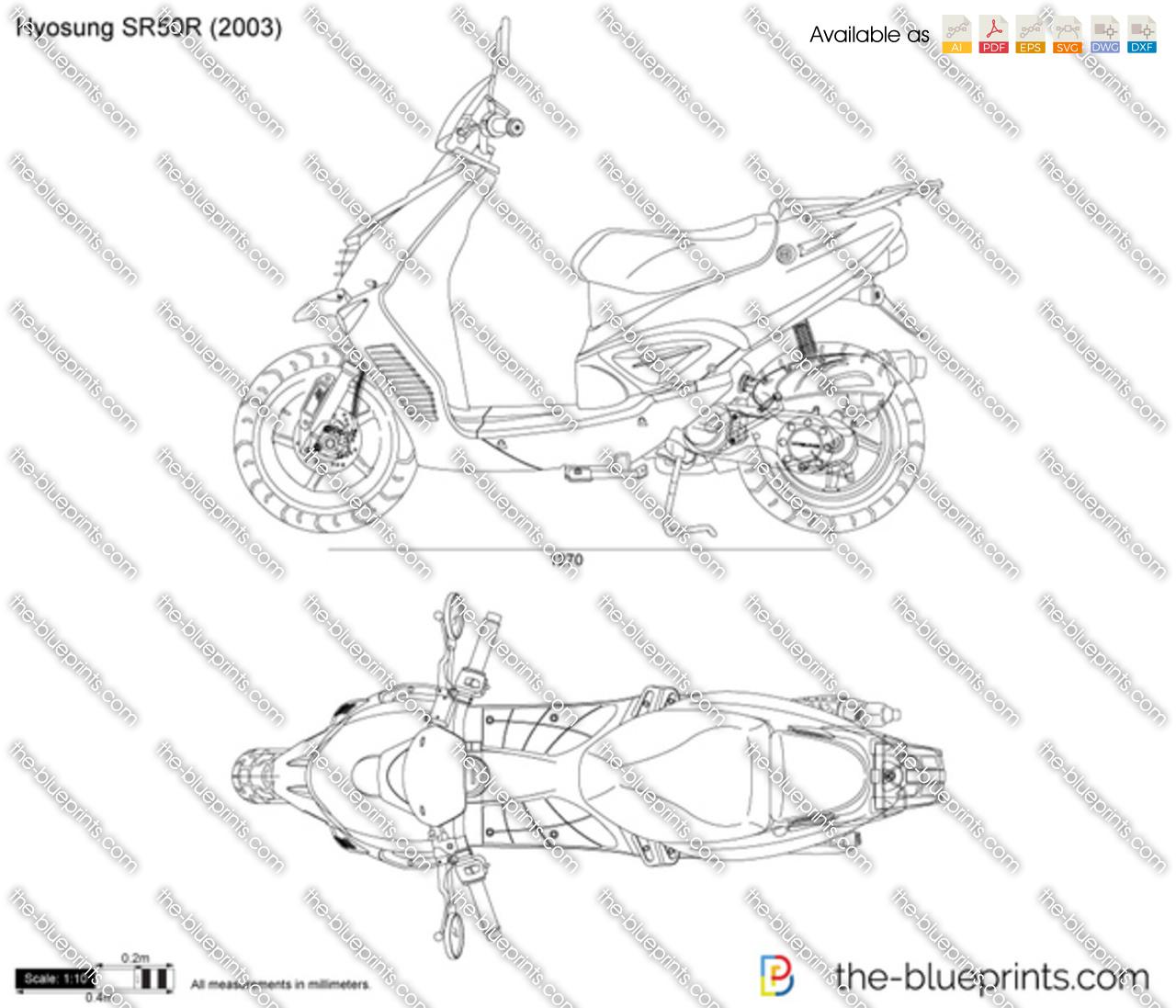 Hyosung Sr50r Vector Drawing