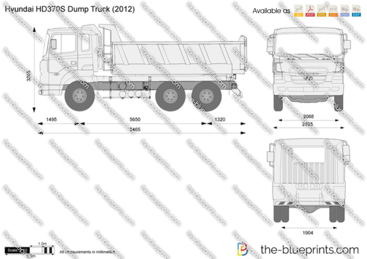Hyundai Hd370s Dump Truck Vector Drawing