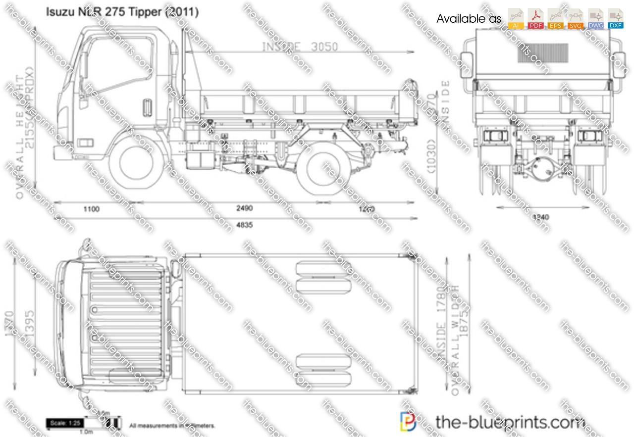 Isuzu Nlr 275 Tipper Vector Drawing