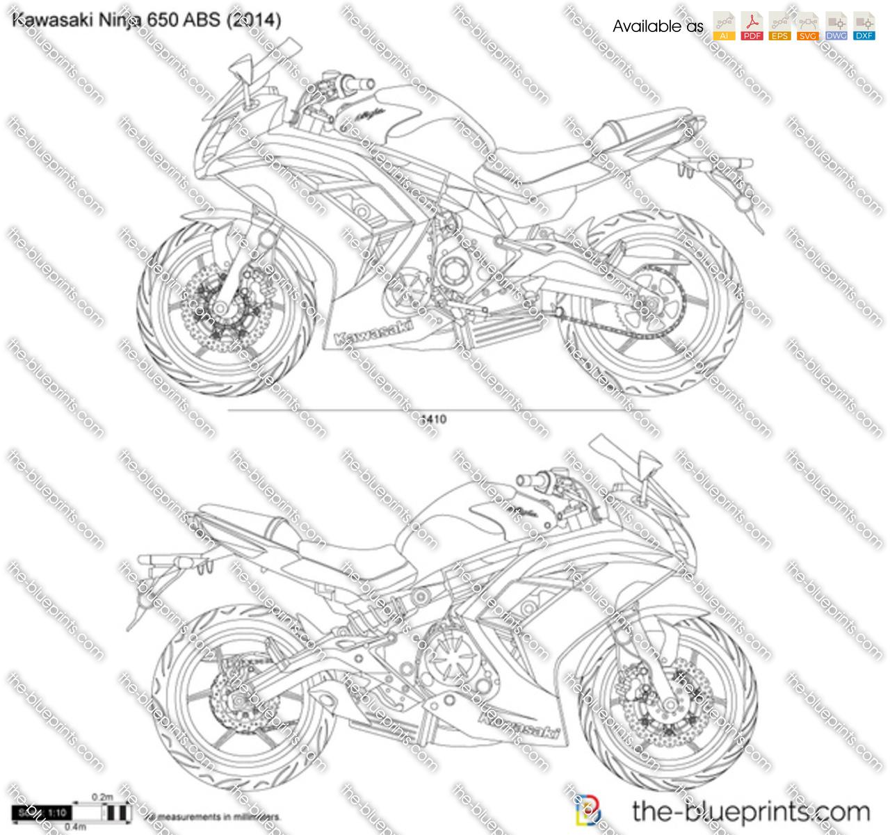 Kawasaki Ninja 650 Abs Vector Drawing