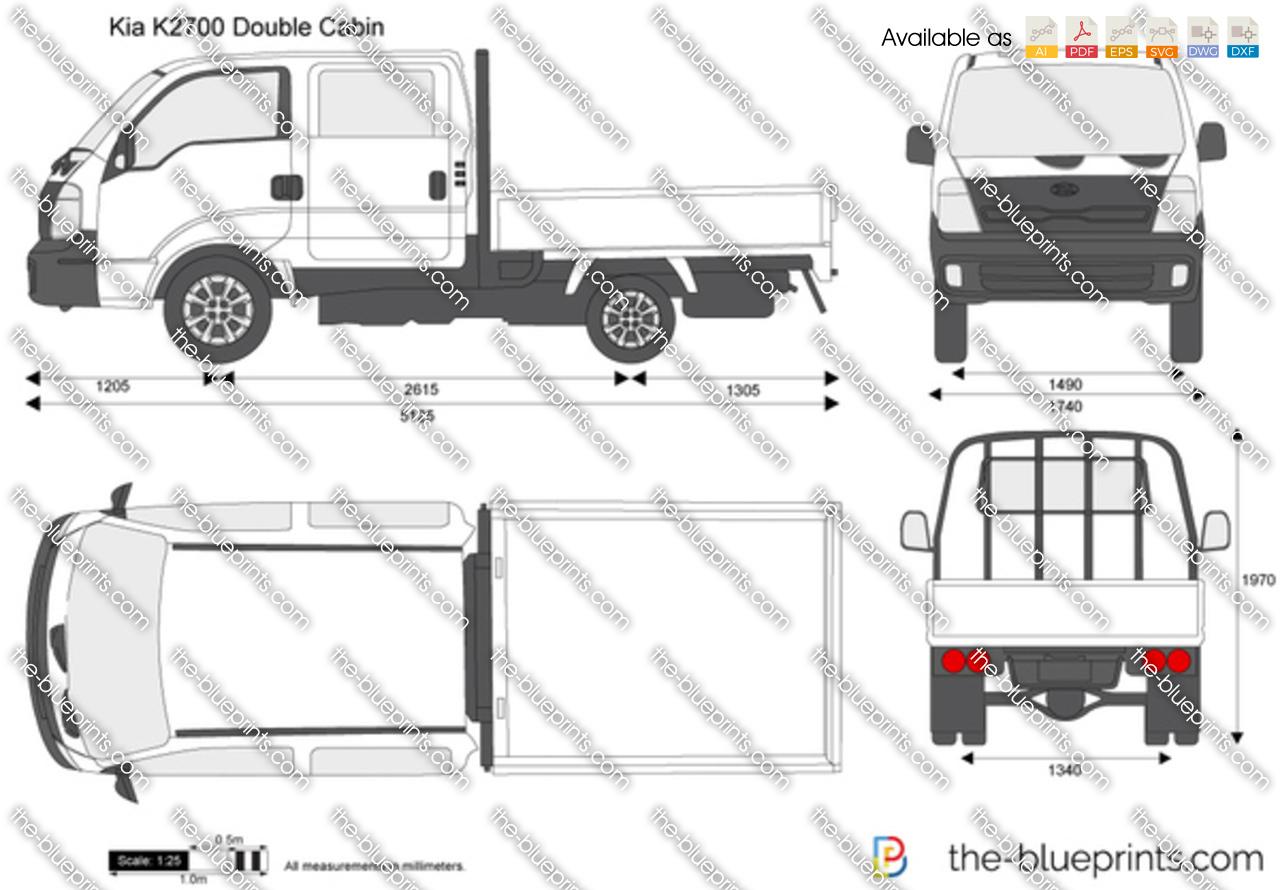 Kia K Double Cabin Vector Drawing