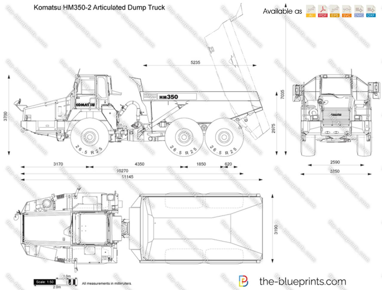 Komatsu Hm350 2 Articulated Dump Truck Vector Drawing