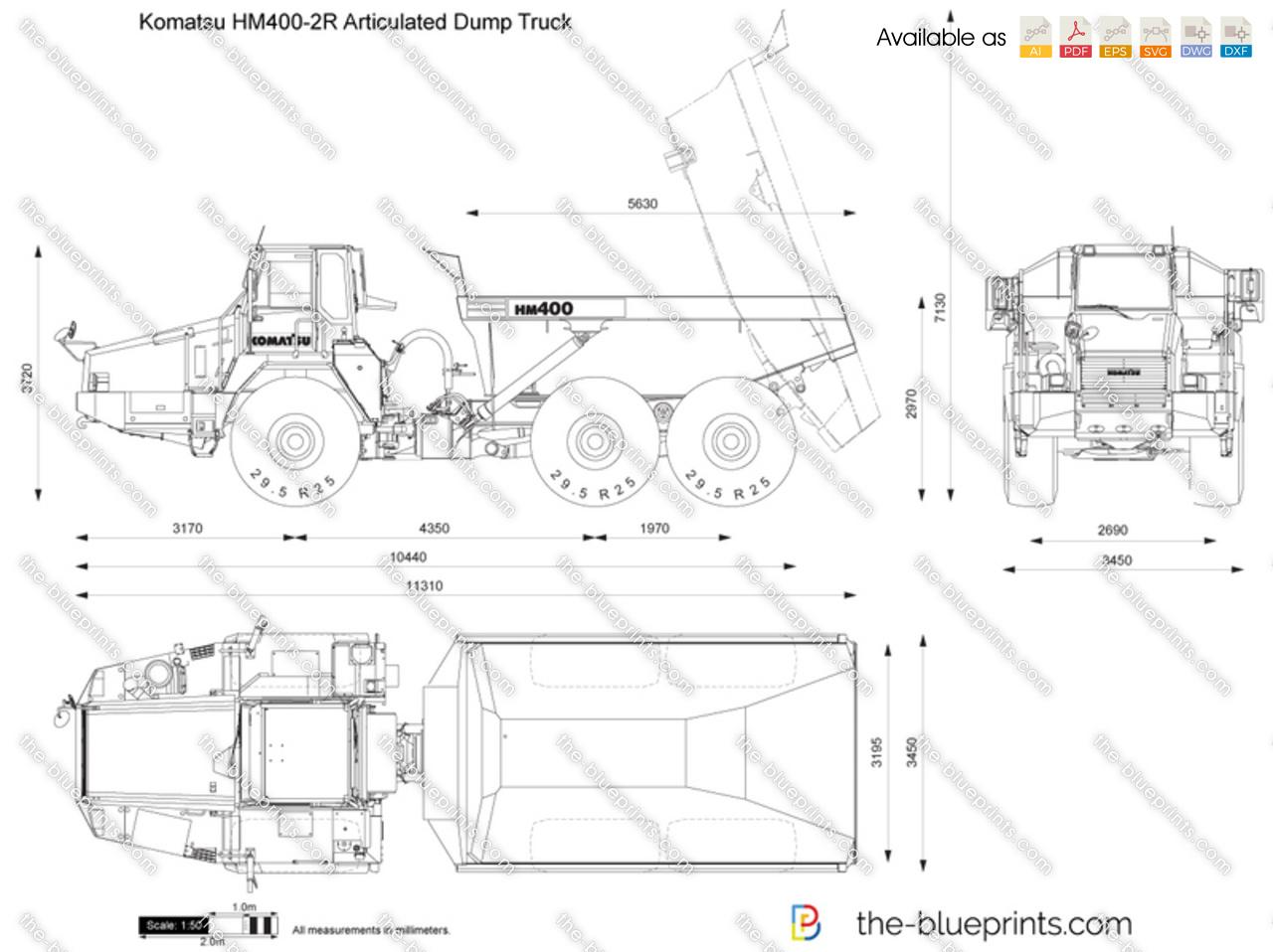 Komatsu Hm400 2r Articulated Dump Truck Vector Drawing