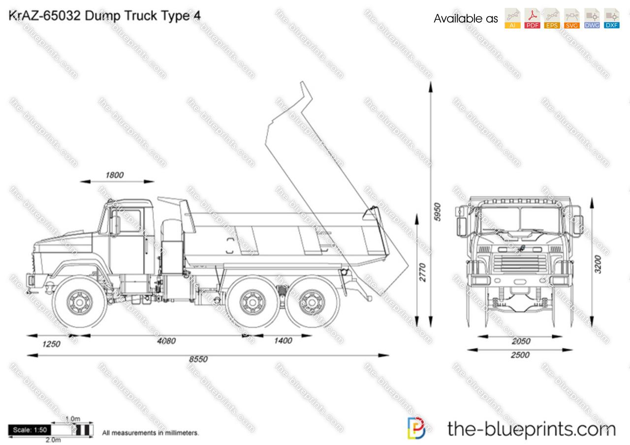 Kraz Dump Truck Type 4 Vector Drawing