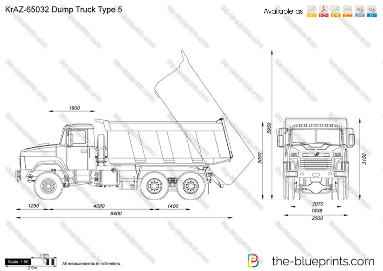 Kraz Dump Truck Type 5 Vector Drawing