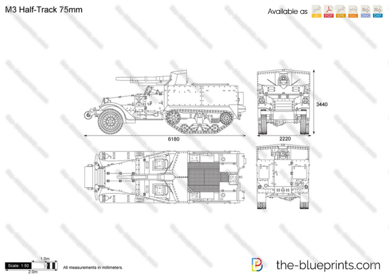 M3 Half Track 75mm Vector Drawing