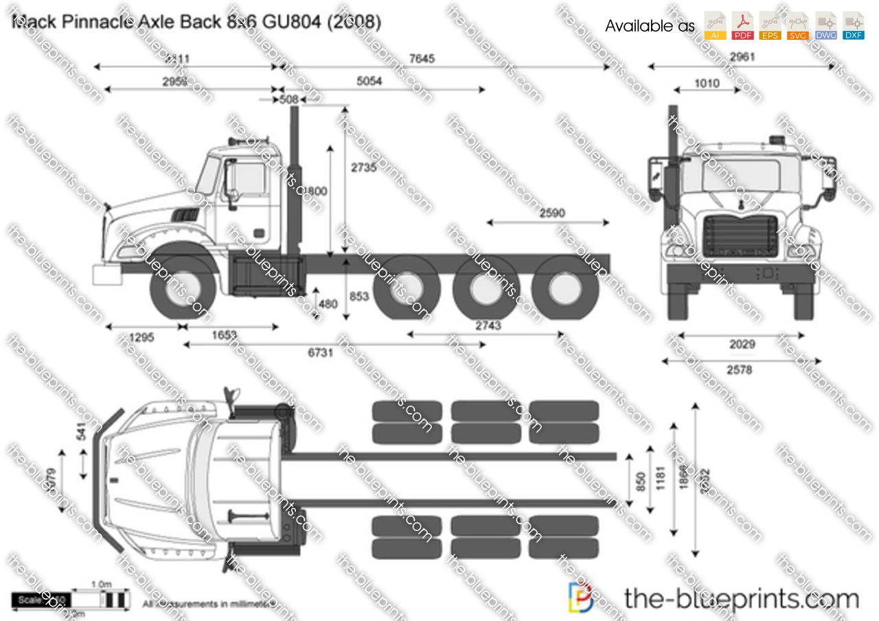 Mack Pinnacle Axle Back 8x6 Gu804 Vector Drawing