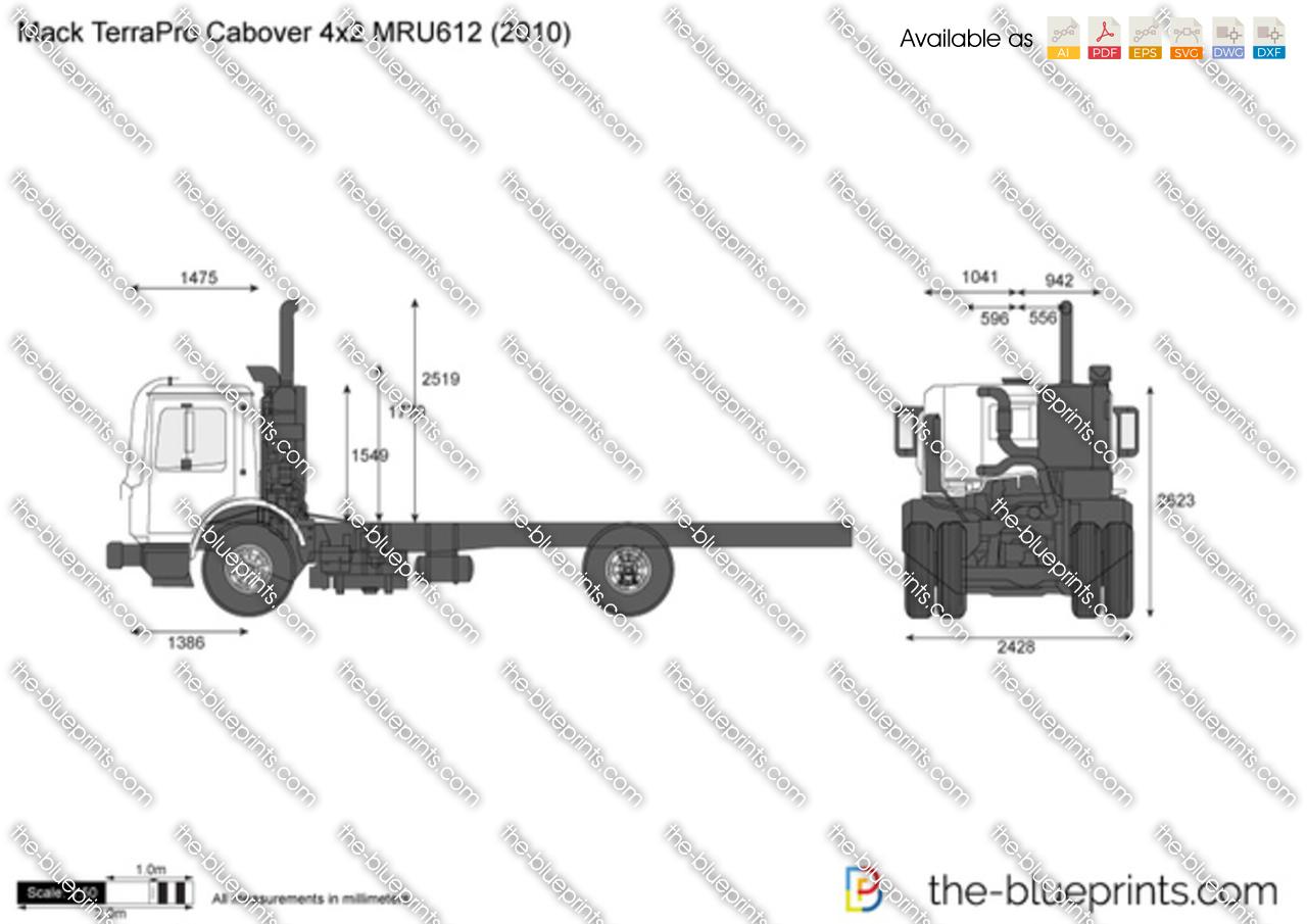 Mack Terrapro Cabover 4x2 Mru612 Vector Drawing